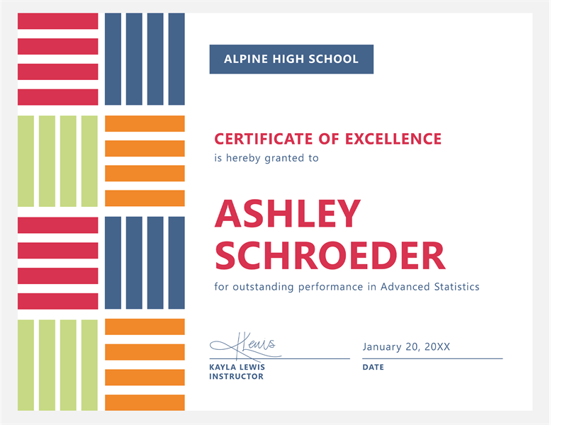 Certificates for Certificate of excellence template