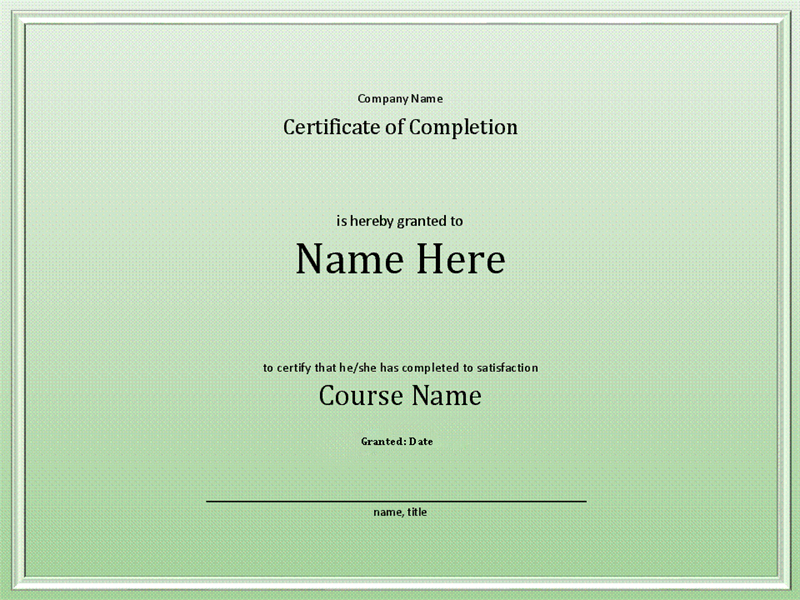 certificate of course