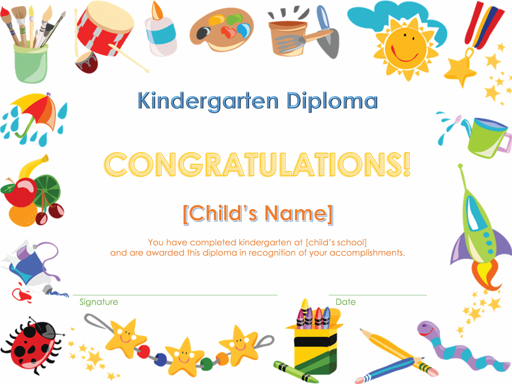 Wonderful Kindergarten Diploma Certificate Intended Diploma Word Template