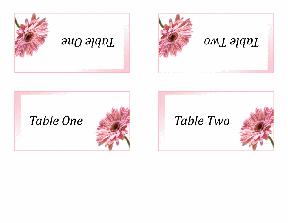 Numbered table tents (2 per page) - Office Templates