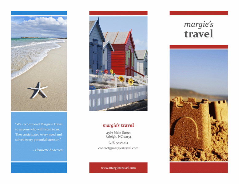 Tri-fold travel brochure (red, gold, blue design)