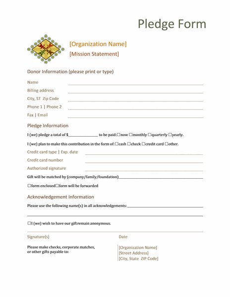 Donation pledge form Office Templates – Generic Donation Form