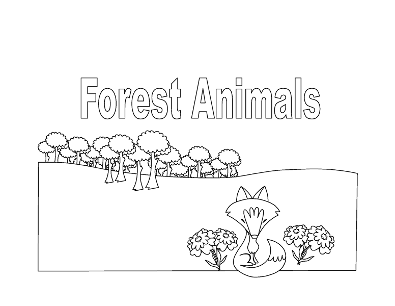 Forest animals coloring book (8 pages)