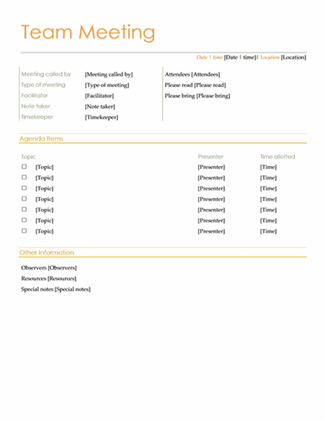 Team Meeting Agenda (informal)  Minutes Agenda Template