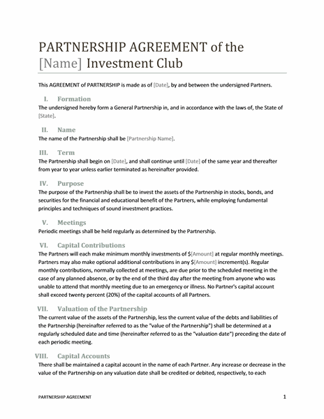 Investment club partnership agreement Office Templates – Agreement