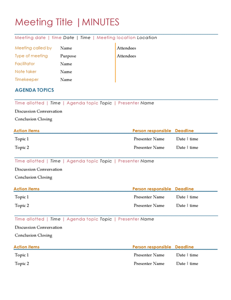 Meeting minutes for Recording minutes template