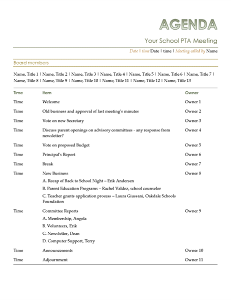 Pta agenda for First board meeting agenda template