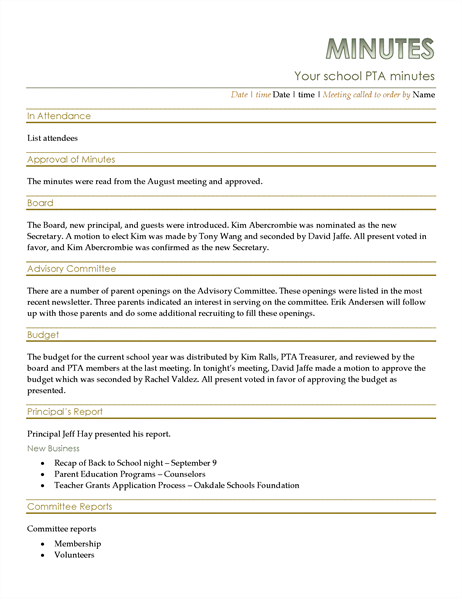 Pta meeting minutes for Taking minutes in a meeting template