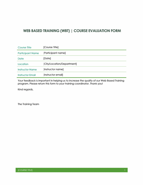 Web based training evaluation form