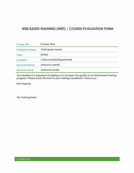 Web based training evaluation form Office Templates – Program Evaluation Form