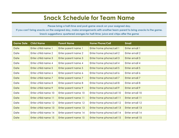 youth sports snack schedule template