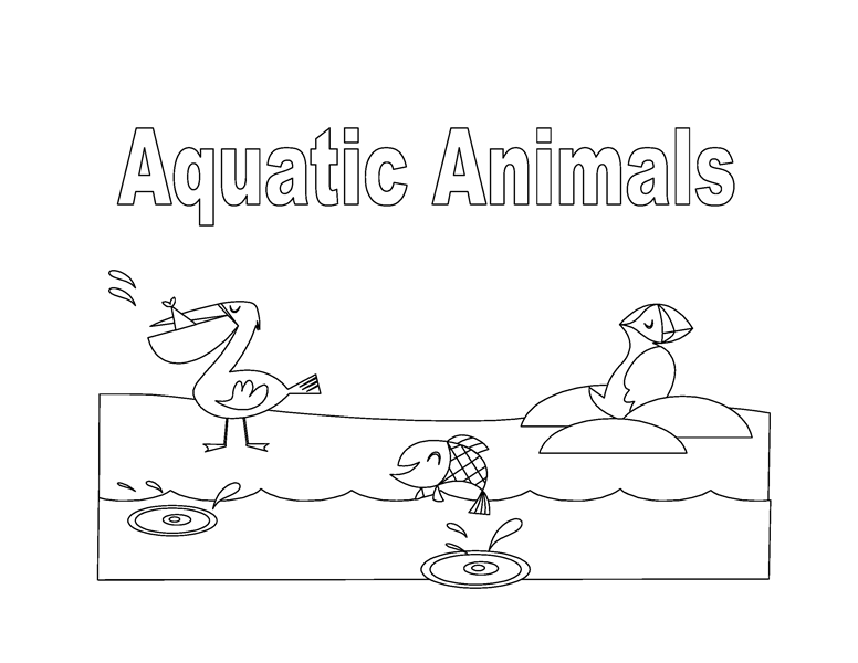 Aquatic animals coloring book