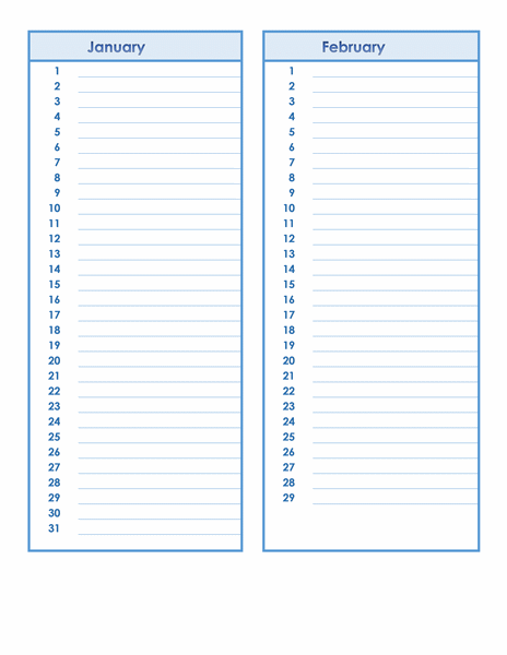 Birthday And Anniversary Calendar  Monthly Planner Template Word