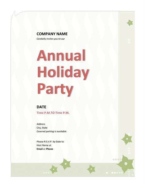 Company Holiday Party Invitation Office Templates - Annual holiday party invitation template