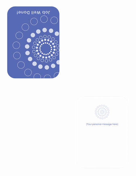 Job congratulations card (quarter-fold)