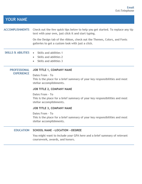 Resume for internal company transfer Office Templates