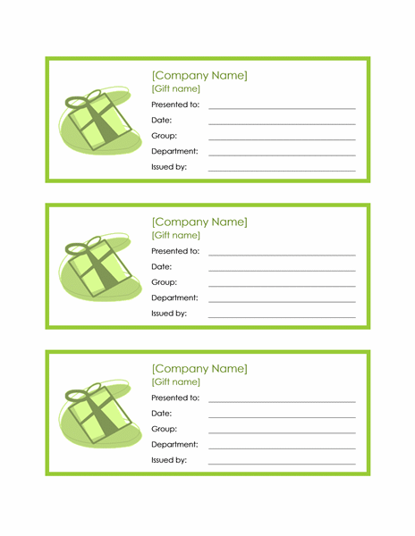 Certificates Office – Word Gift Card Template