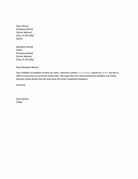 Letter canceling order