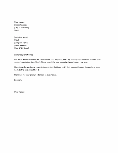 Templates Financial Management Letter confirming lost credit card