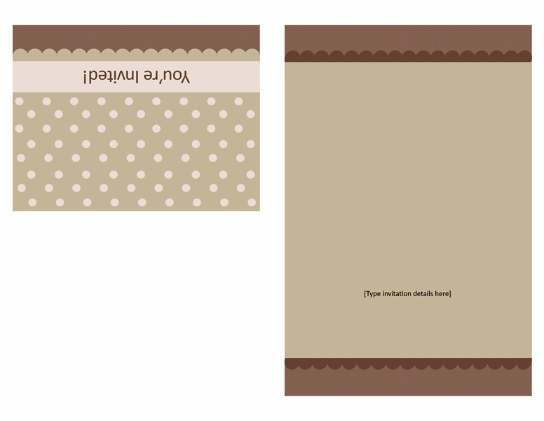 Invitation note card (tan and brown, quarter-fold)