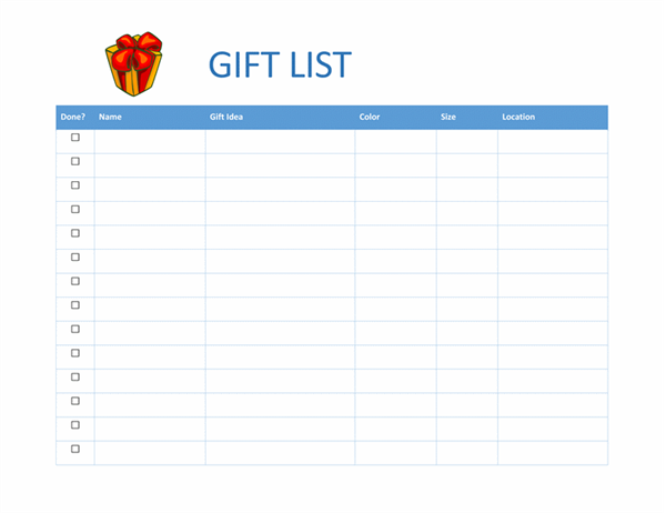 Gift shopping checklist
