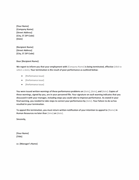 Employee Termination Letter Due To Poor Performance  Letter Of Termination Of Employment Template