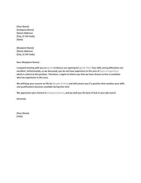 Letter rejecting job candidate for lack of experience office letter rejecting job candidate for lack of experience altavistaventures Choice Image