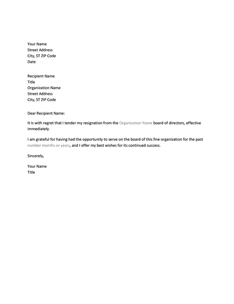 Letter Of Resignation From Board  Letter Of Resignation