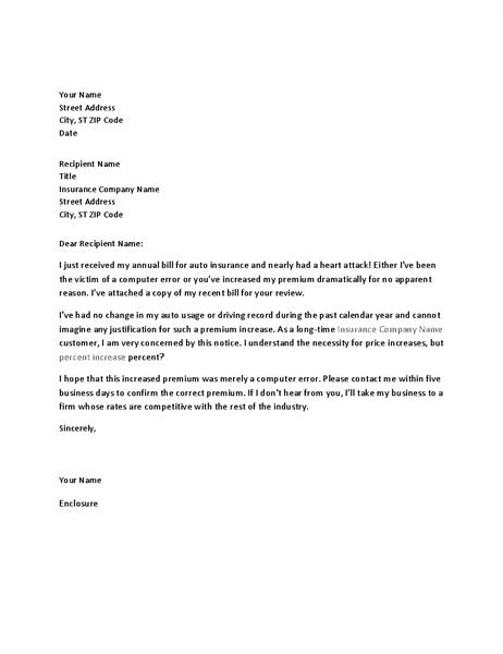 Letter of complaint about insurance premium increase office templates letter of complaint about insurance premium increase altavistaventures Images