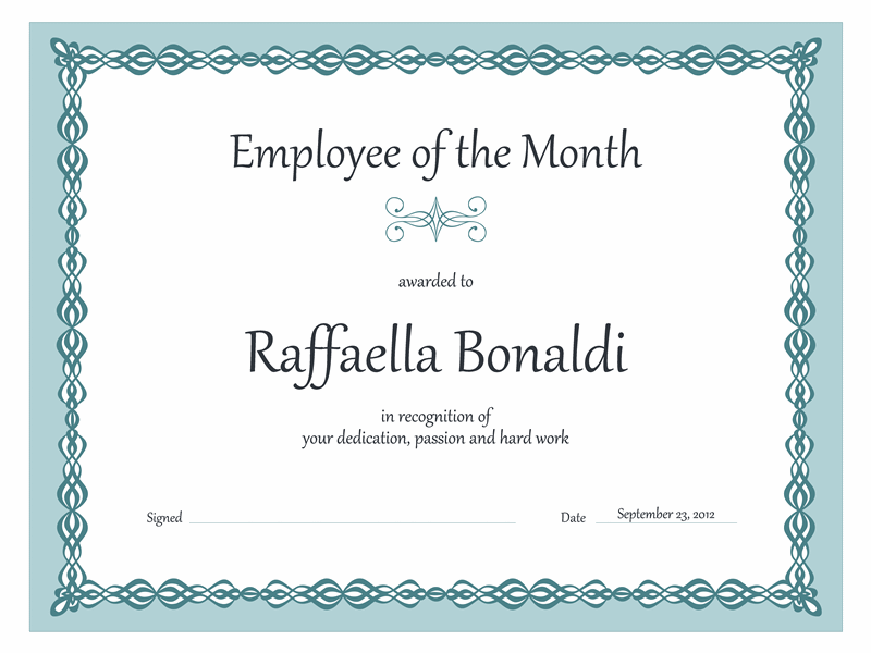Certificate, Employee of the month  (blue chain design)