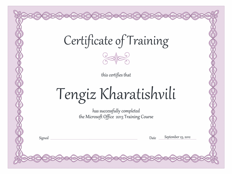 Certificate Of Training (purple Chain Design)  Computer Course Completion Certificate Format