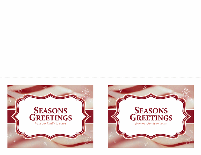 Christmas Cards (candy Cane Swirls Design, 2 Per Page)  Christmas Card Templates For Word