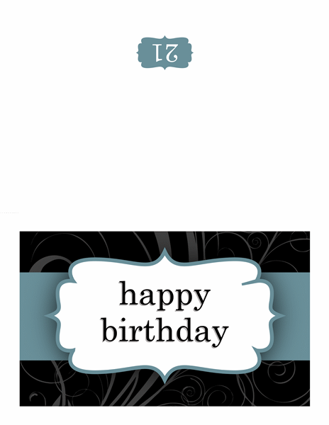 Birthday card (Blue Ribbon design, half-fold) - Office Templates
