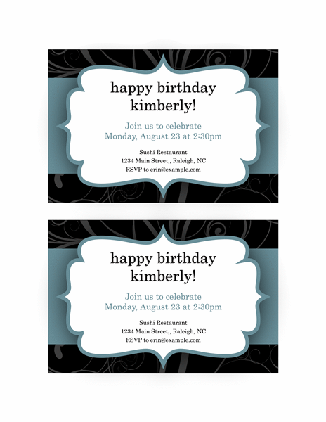 Party Invitations (Blue Ribbon Design, 2 Per Page)  Party Rsvp Template