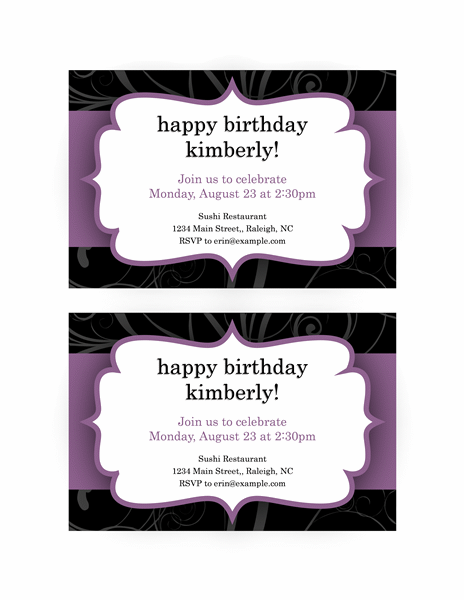 Party invitation Purple Ribbon design Office Templates – Invitation for Parties