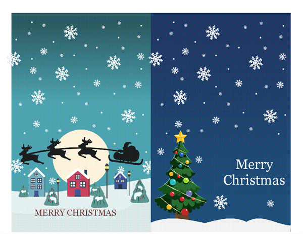 Christmas Notecards (Christmas Spirit Design, 2 Per Page, For Avery 3268)  Christmas Template Free