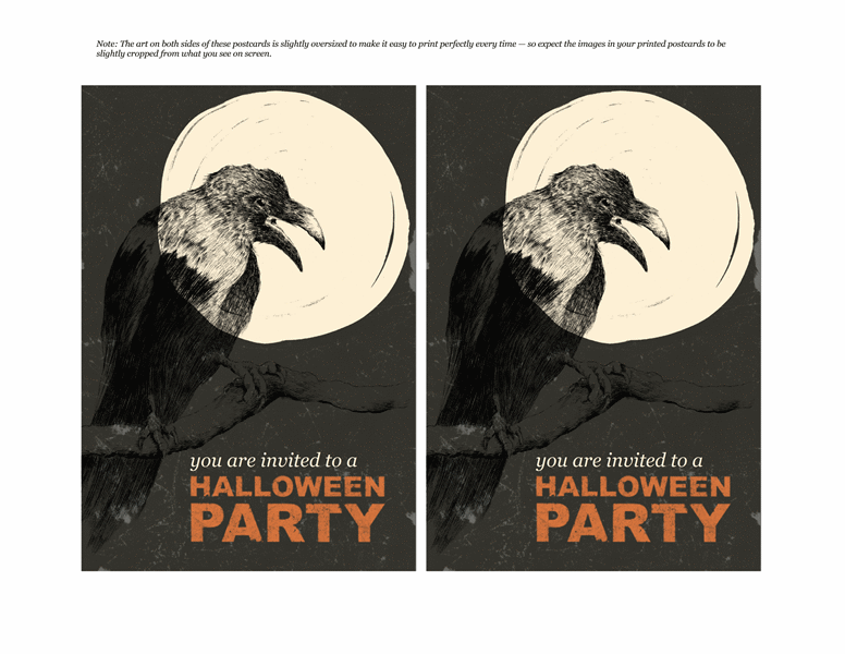 Halloween party postcard invitations (2 per page, works with Avery 5889 and similar)