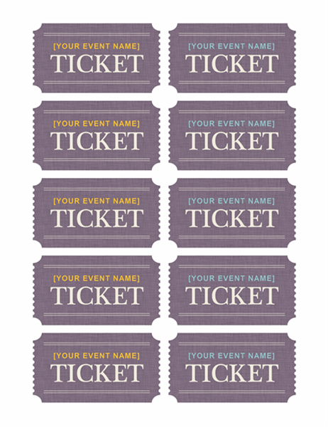 Great Tickets (10 Per Page, Works With Avery 5371)  Free Event Ticket Templates For Word