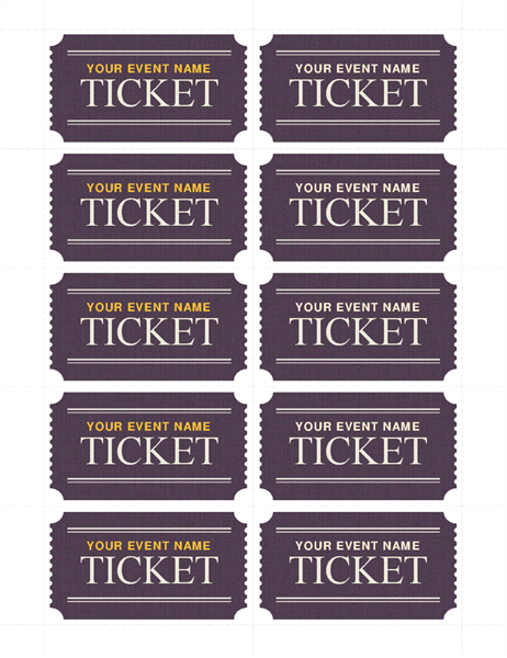 Basic Tickets (10 Per Page)  Coupon Sample Template