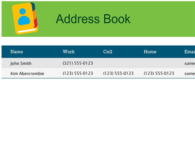 Address book for Microsoft excel address book template