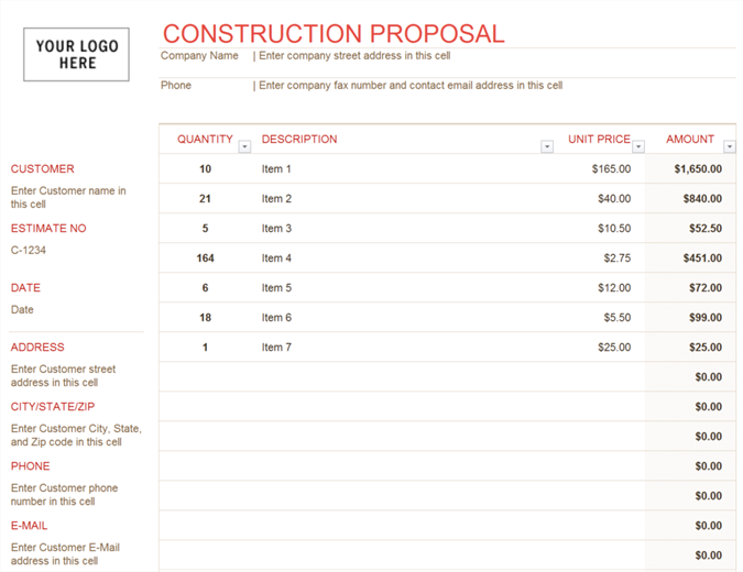 Construction proposal for Custom home estimate template