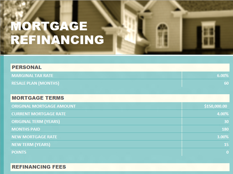 Perfect Mortgage Refinance Calculator  Mortgage Templates