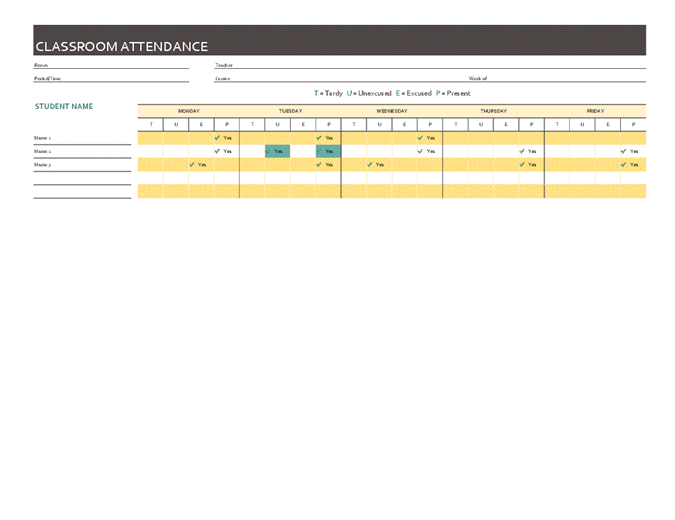 Weekly class attendance record Office Templates – Weekly Attendance Template