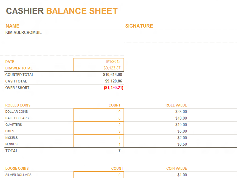 Cashier balance sheet Office Templates – Balance Sheet Templates