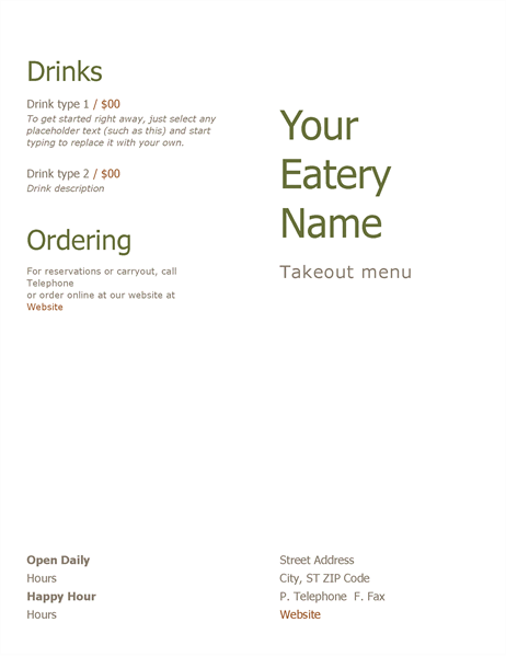 Takeout Menu Word  Menu Templates For Word