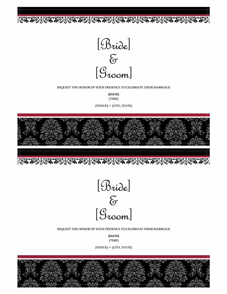 Wedding invitations (Black and White wedding design, 2 per page)