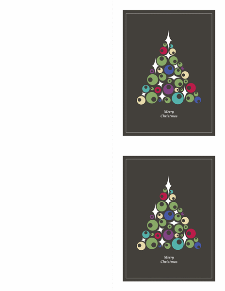 Christmas Cards (tree Of Ornaments, 2 Per Page)  Christmas Card Templates For Word