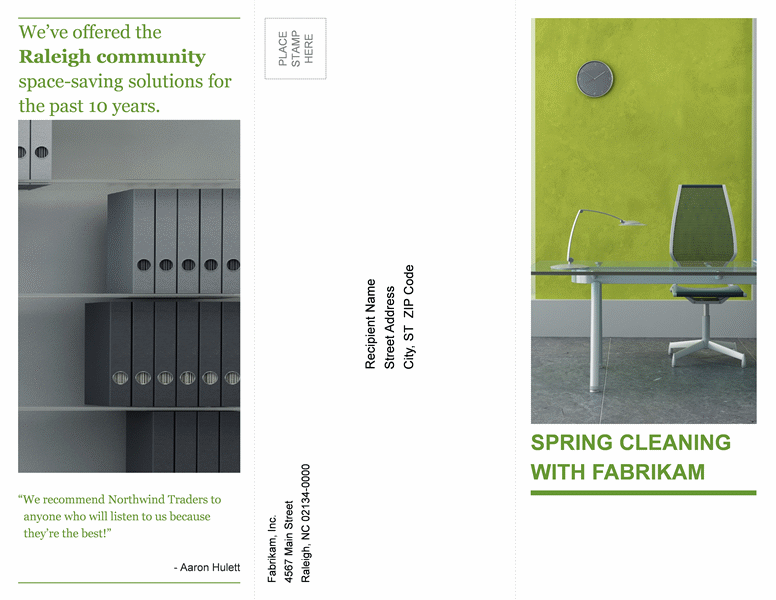 Tri-fold business brochure (green, black design)