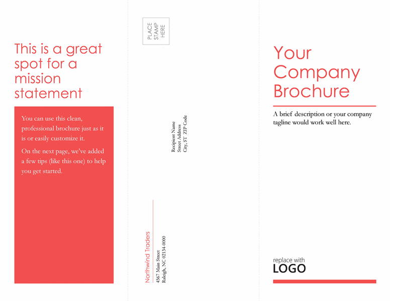 Tri Fold Business, Medical Brochure (red, White Design)  Microsoft Trifold Template