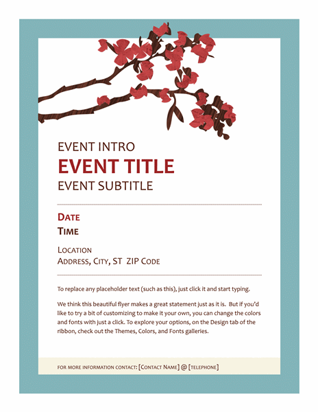 High Quality Spring Flyer (flowering Branch Design) Intended For Flyer Outline